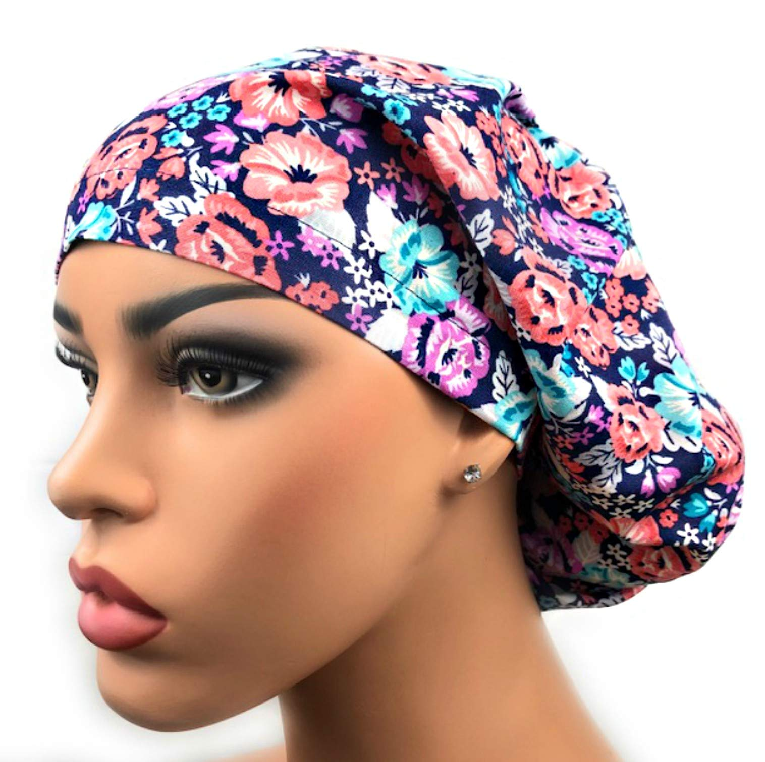 Womens Surgical Scrub Hat OR Nurse Cap Euro Style Blue Pink Floral Adjustable Bouffant Cap by DK Scrub Hats