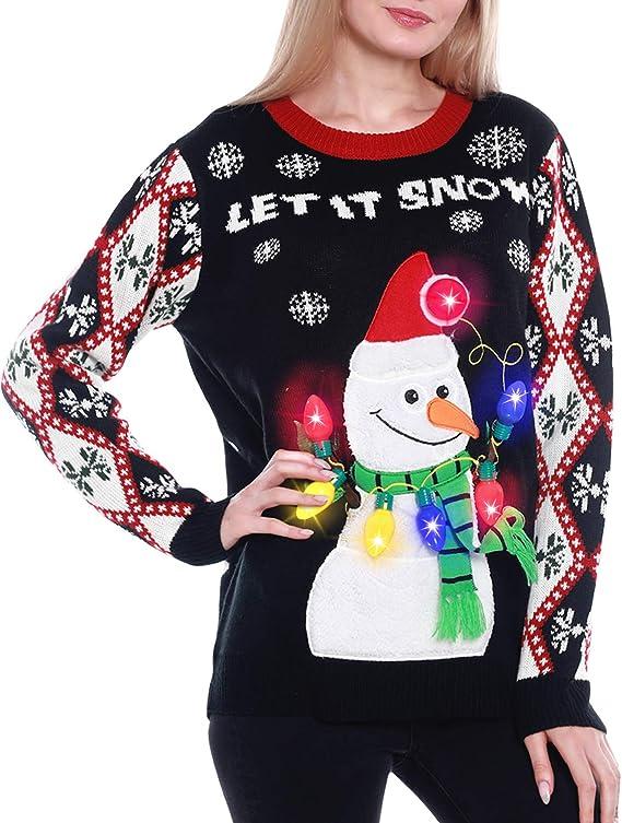 Light Up Women's Christmas Sweater, 3D Snowman Santa Hat Ugly Sweater ugly christmas sweaters for women