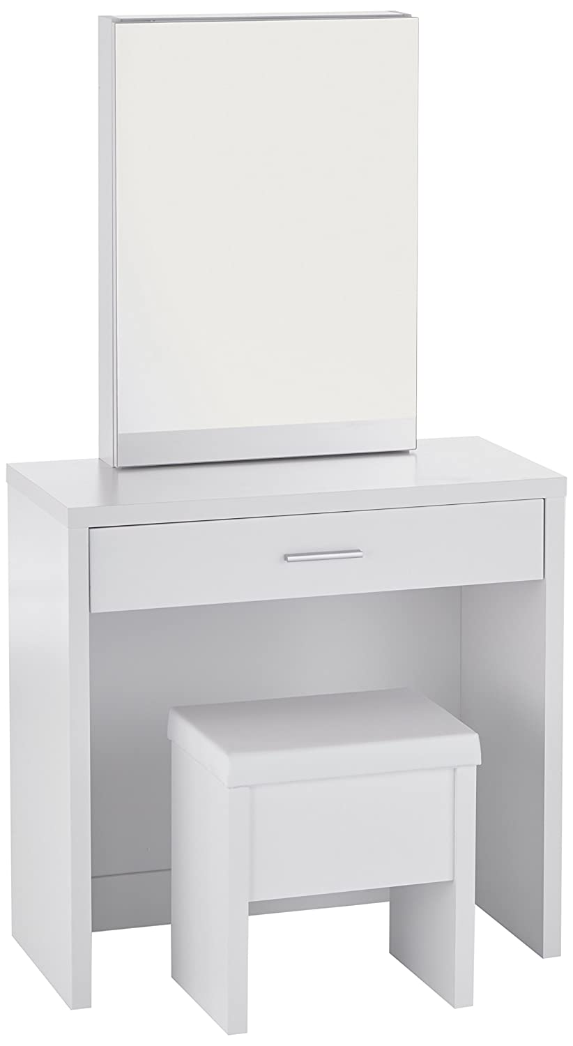 Amazon com 2 piece vanity set with hidden mirror storage and lift top stool white kitchen dining