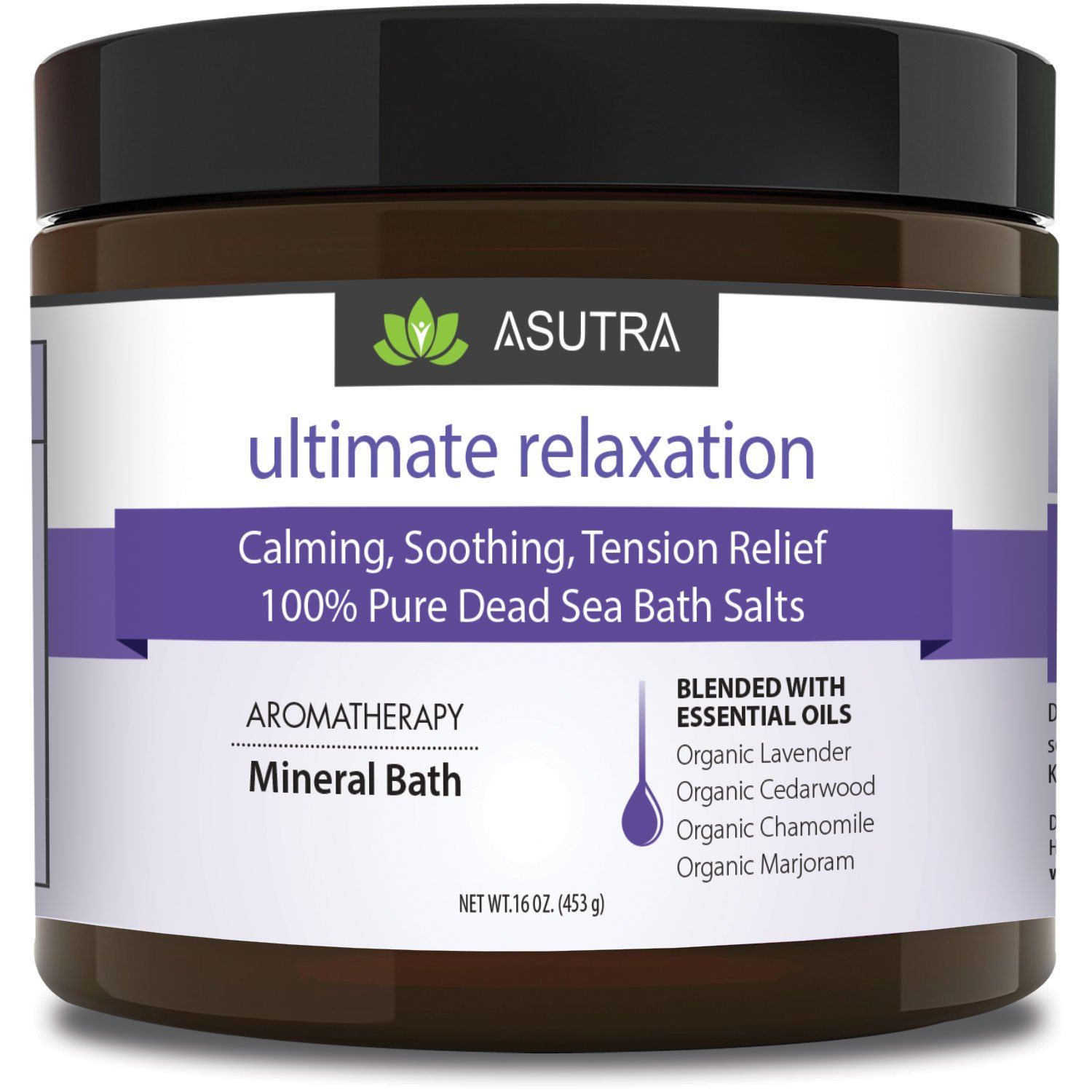 ASUTRA ULTIMATE RELAXATION - 100% Pure Dead Sea Bath Salts - Melt Tension Away - Organic Cedarwood, Chamomile, Lavender, Marjoram Essential Oils, Rich in Healing Minerals. 16oz