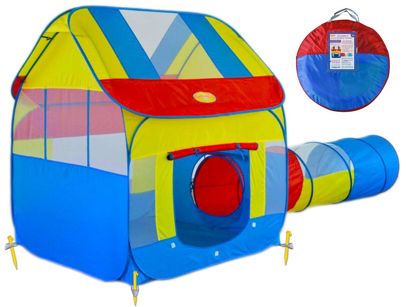 Amazon.com: Big Children Play Tent with Tunnel - Pop-Up into Playhouse Tent  for Indoor/Outdoor with Stakes for Boys or Girls, Good for Kids to Pretend  Play, ...