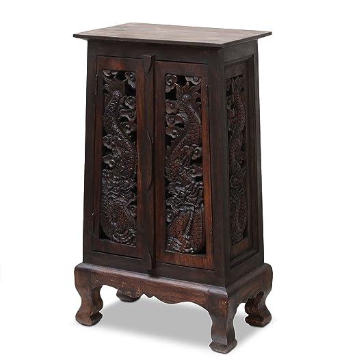 Schrank Kommode Holzschrank Wohnzimmer Holz Diele Dunkel Braun China Drachen Massiv 80cm