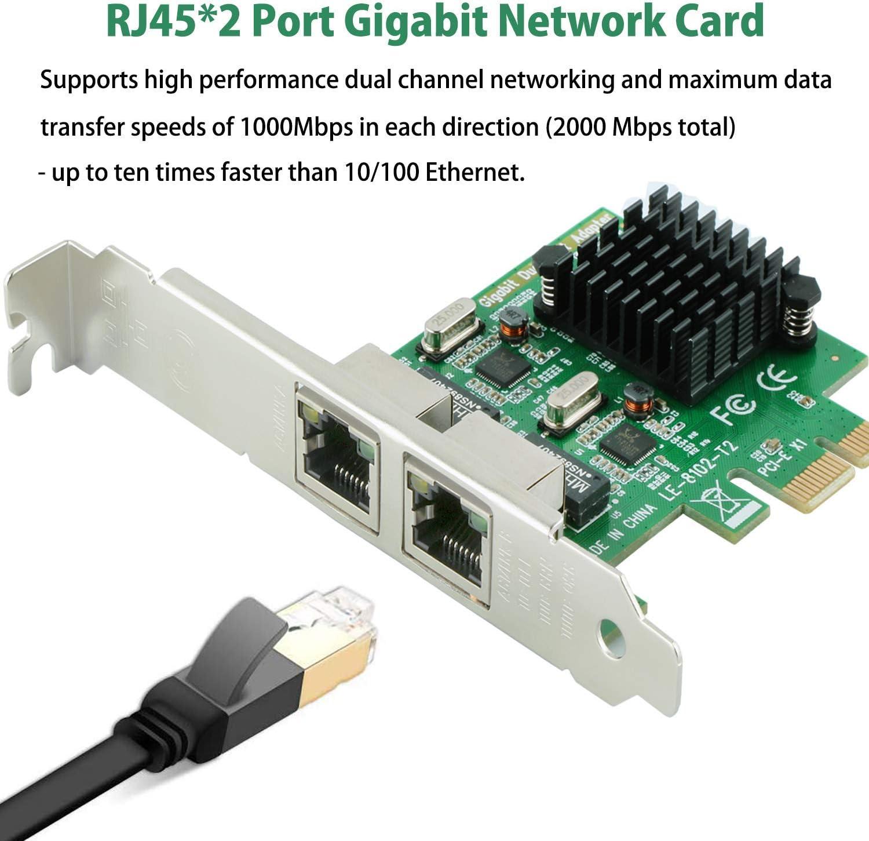 Ziyituod Tarjeta de red RJ45 2 Gigabit LAN 10//100//1000 Mbps LAN adaptador convertidor para PC de escritorio 2 puertos Ethernet Card tarjeta controladora de red Gigabit Ethernet PCI Express
