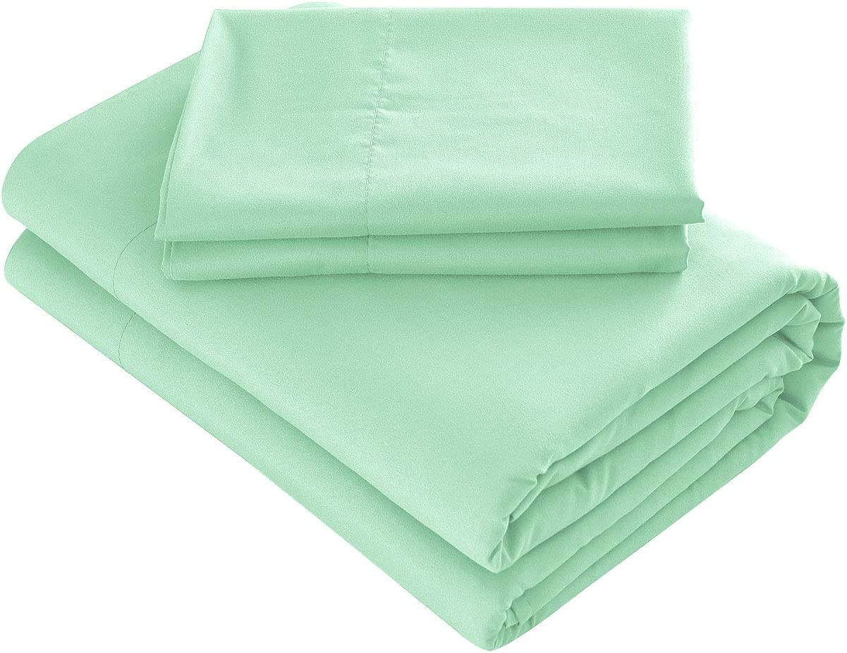 Prime Bedding Bed Sheets - 4 Piece Full Size Sheets, Deep Pocket Fitted Sheet, Flat Sheet, Pillow Cases - Mint