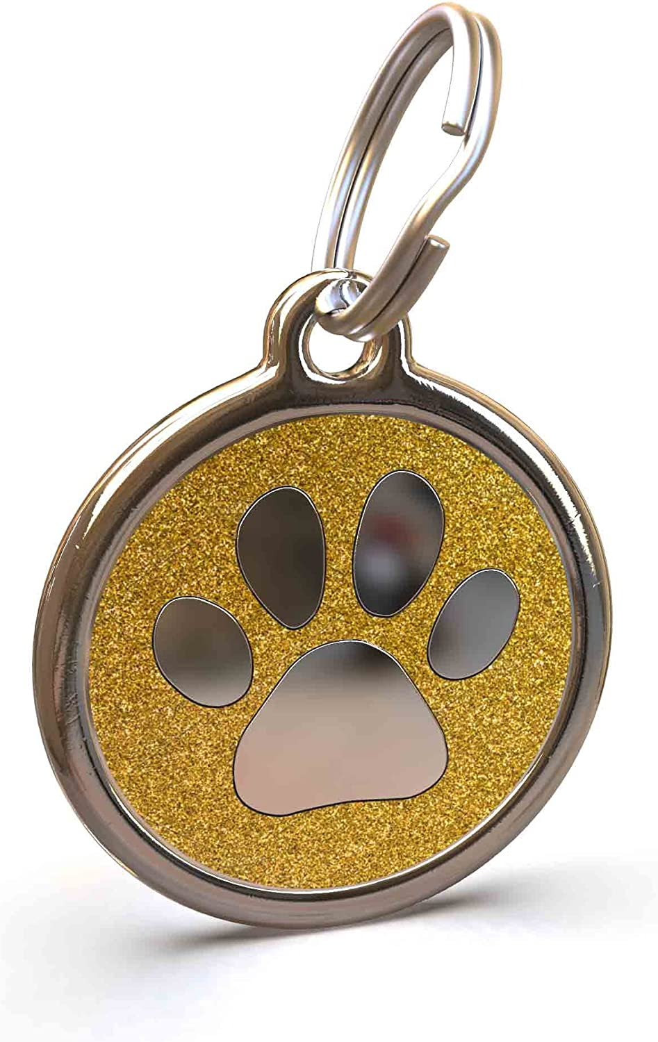 Small UNLEASHED.DOG Customisable Engraved Cat//Dog ID Tag Stainless Steel with Bone Glitter Enamel Inlay Aqua