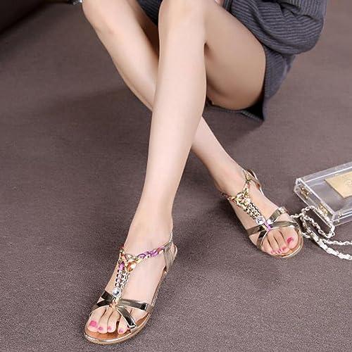 LUCKYCAT Amazon, Sandales d'été Femme Chaussures de Été Sandales à Talons Sandales Plates Diamant de Mode Casual Sandales à Talons Hauts Chaussures de