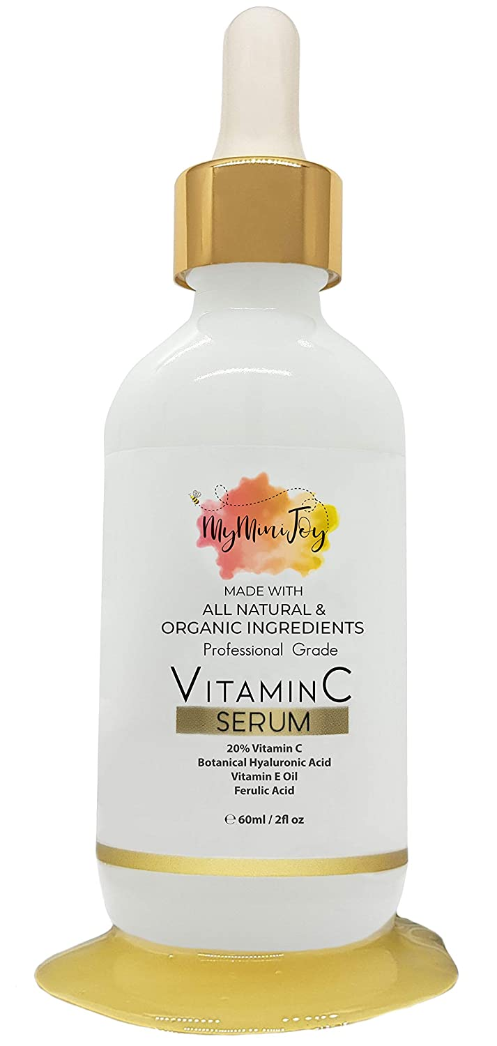 Vitamin C Serum for Face [BIG 2oz Bottle] with Hyaluronic Acid & Vitamin E Oil - Natural & Organic Anti Aging Collagen Booster - Fine Line, Acne, Dark Circle, Wrinkle, Sun Damage Corrector