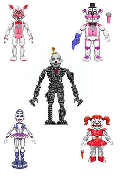 Funko Fnaf Sister Location Articulated Action Figures 5 Complete Set Gift Set Bundle Includes Fun Time Freddy Fun Time Foxy Ballora Baby And