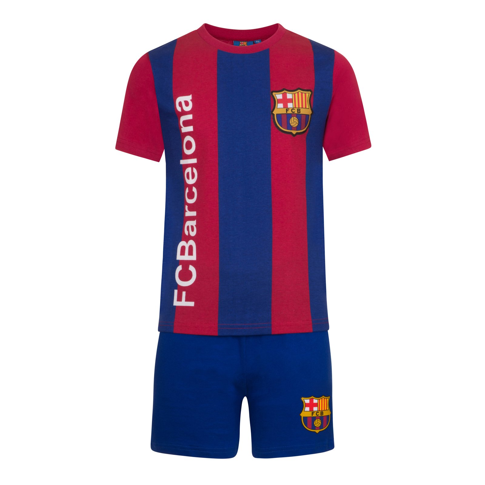 FC Barcelona Official Gift Boys Striped Kit Short Pajamas Blue 7-8 Years