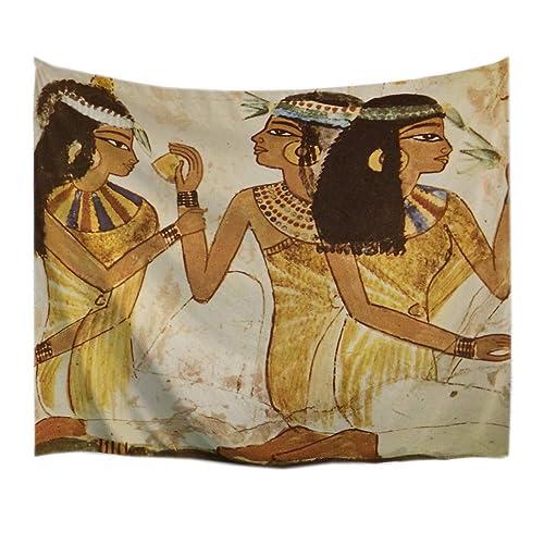 A.Monamour Tapices Antigua Impresión Tradicional Retrato De La Mujer Egipcia Moteado Marrón Pared Fondos