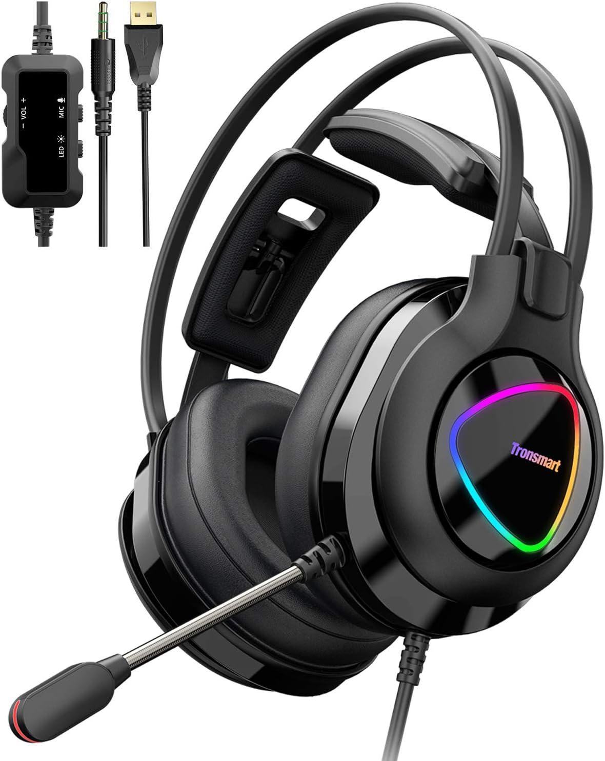 Tronsmart Alpha-glary Auriculares Gaming PS4 50mm Estéreo Envolventes con Micrófono Plegable-Ajustables Espuma-RGB Cascos Gaming 3,5 mm-Ancelación del Ruido para PC,PSP,Xbox One,Switch y móviles
