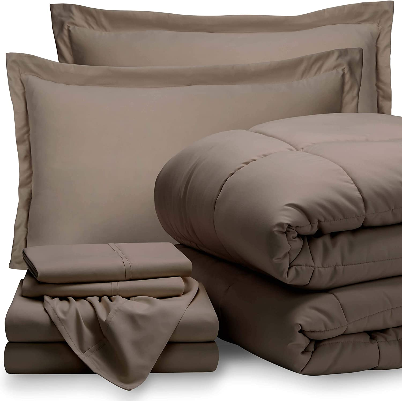 Bare Home King Sheet Set - 1800 Ultra-Soft Microfiber Bed Sheets (King, Taupe) + Comforter Set - All Season (King/Cal King, Taupe)