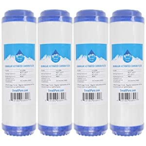 4-Pack Replacement for Compatible with OmniFIlter U25 Granular Activated Carbon Filter - Universal 10-inch Cartridge Compatible with OmniFilter Water Filter Unit - Model U25 - Denali Pure Brand