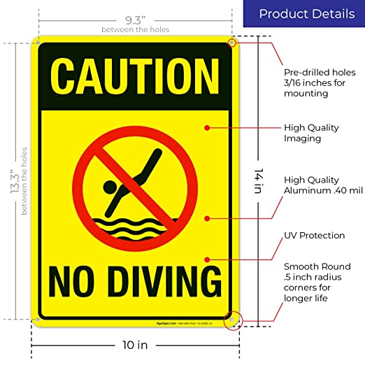Amazon.com: Signo de advertencia de no buceo, cartel de ...