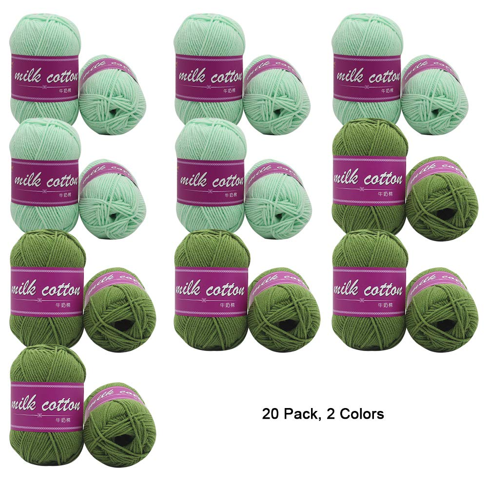 K 20 Pack Soft Yarn for Crochet Knitting and Crafting Milk Cotton, 1000G Total,D