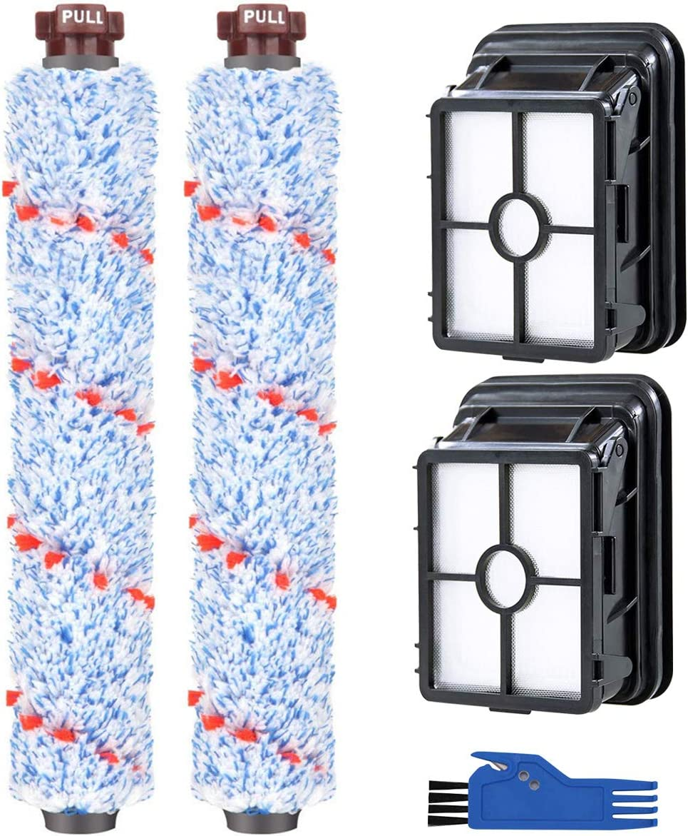 Remplacement Accessories Parts for Bissell CrossWave Vacuum Cleaner 2 Multi-Surface Brush Rolls Blue + 2 Vacuum Filters for Bissell CrossWave 1785 2306 2551 Wet Dry Vacuum Cleaner