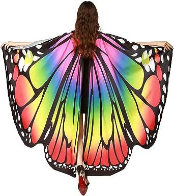 FEOYA Women Girls Butterfly Shawl Wings Halloween Christmas Party Dancing Costume Cape