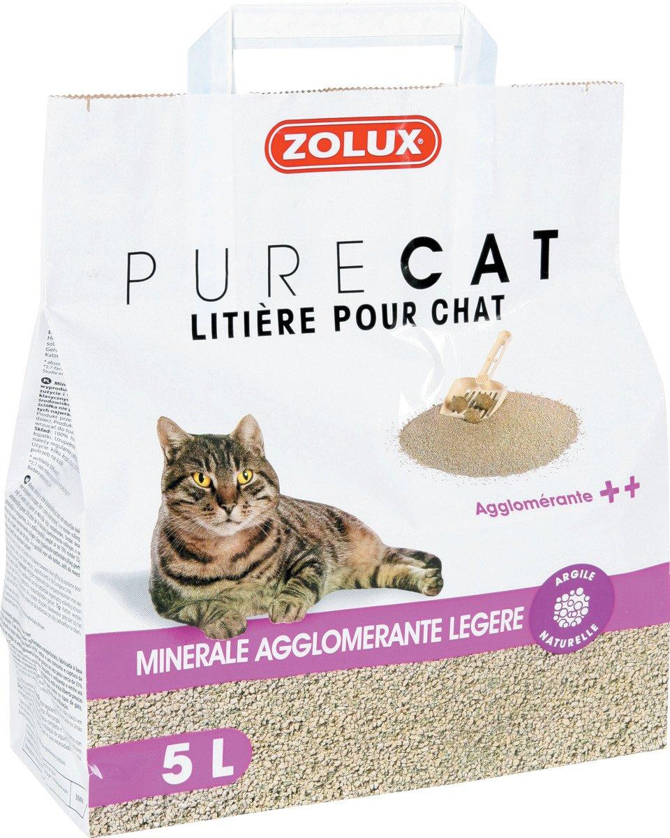 Litière pour chat PURE CAT minérale agglomérante légère 5 L ZOLUX