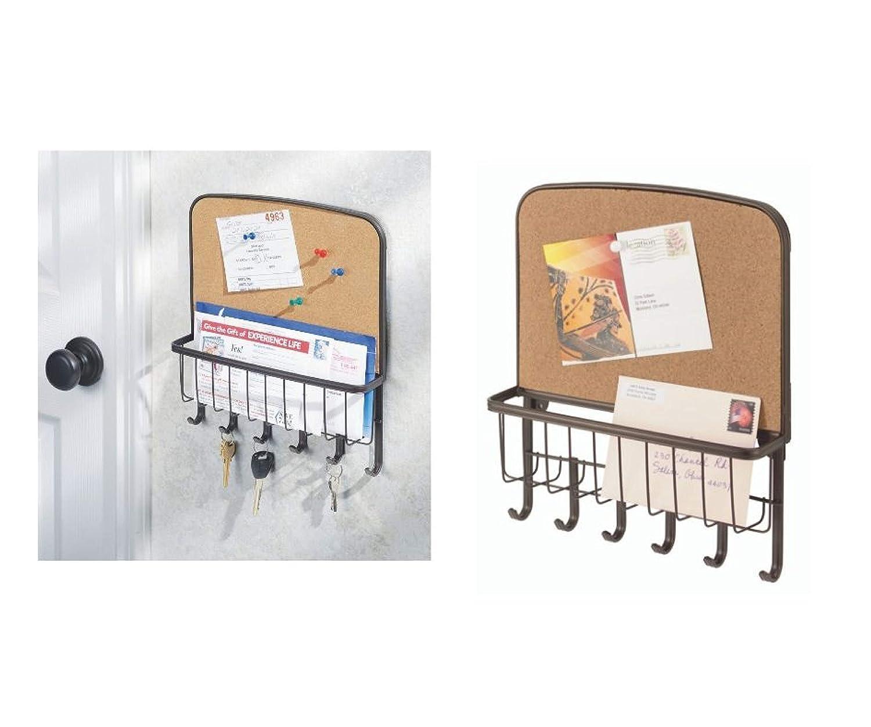 corbeille /à courrier en m/étal avec 6 crochets pour cl/és InterDesign York Lyra organisateur avec tableau en li/ège couleur bronze