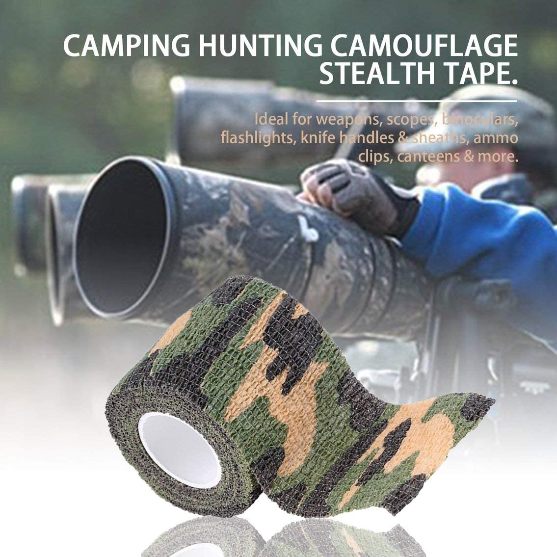 John Agdomarvb /Élastique Camouflage /Étanche en Plein Air Chasse Camping Furtif Camo Wrap Ruban Militaire Airsoft Paintball Stretch Bandage