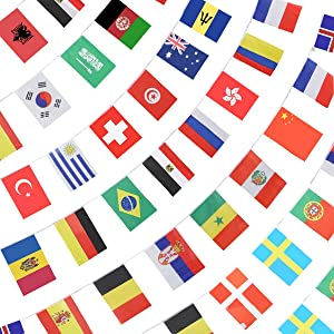 """Anley 184Ft 200 Countries String Flag - International Bunting Banners for Party Decorations, Bars, Sports Clubs, School Festivals, Celebrations - 8"""" x 5"""", 200 Flags, 184 Feet"""