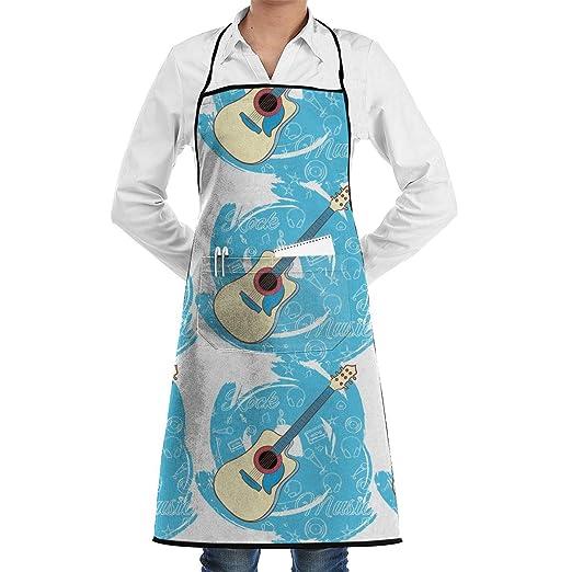 Guitar-05 Delantal de chef de cocina ajustable con bolsillo y ...
