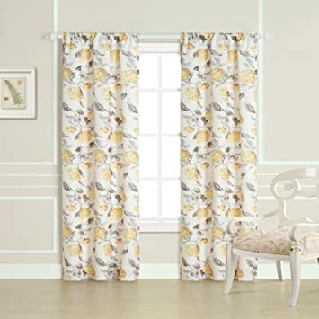 Amazon.com: Laura Ashley Hydrangea Panel Pair Window Treatment ...