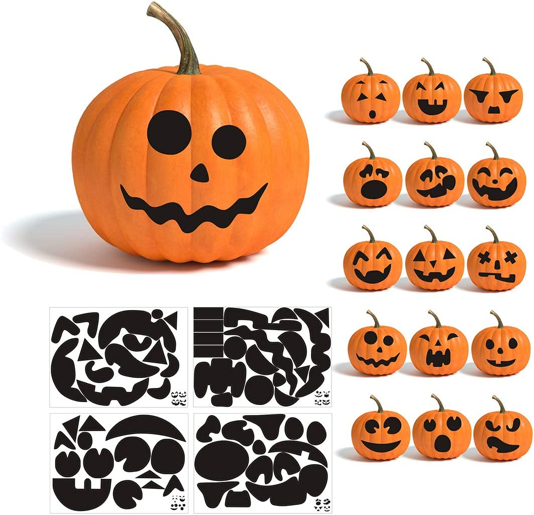 Amazon Com Calidum Pumpkin Decorating Craft Stickers Etching Pumpkin Template Make Your Own Jack O Lantern Face Decals Halloween Party Decorations Supplies 64 Pcs Emoji Face Toys Games