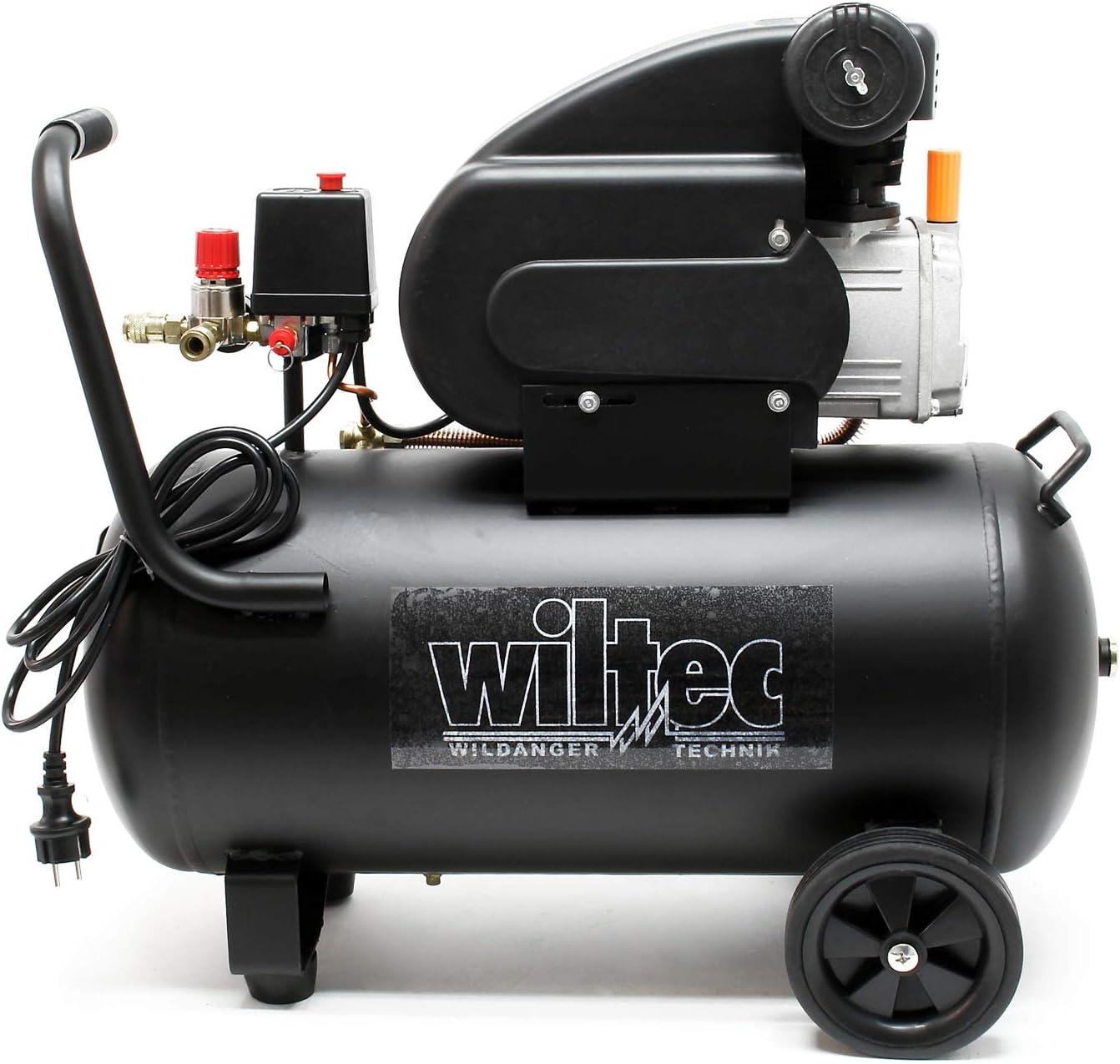 WilTec Compresseur Air comprim/é 50L 1,15W 8 Bars Mobile Roues Silencieux Poign/ée Outil d/'Atelier