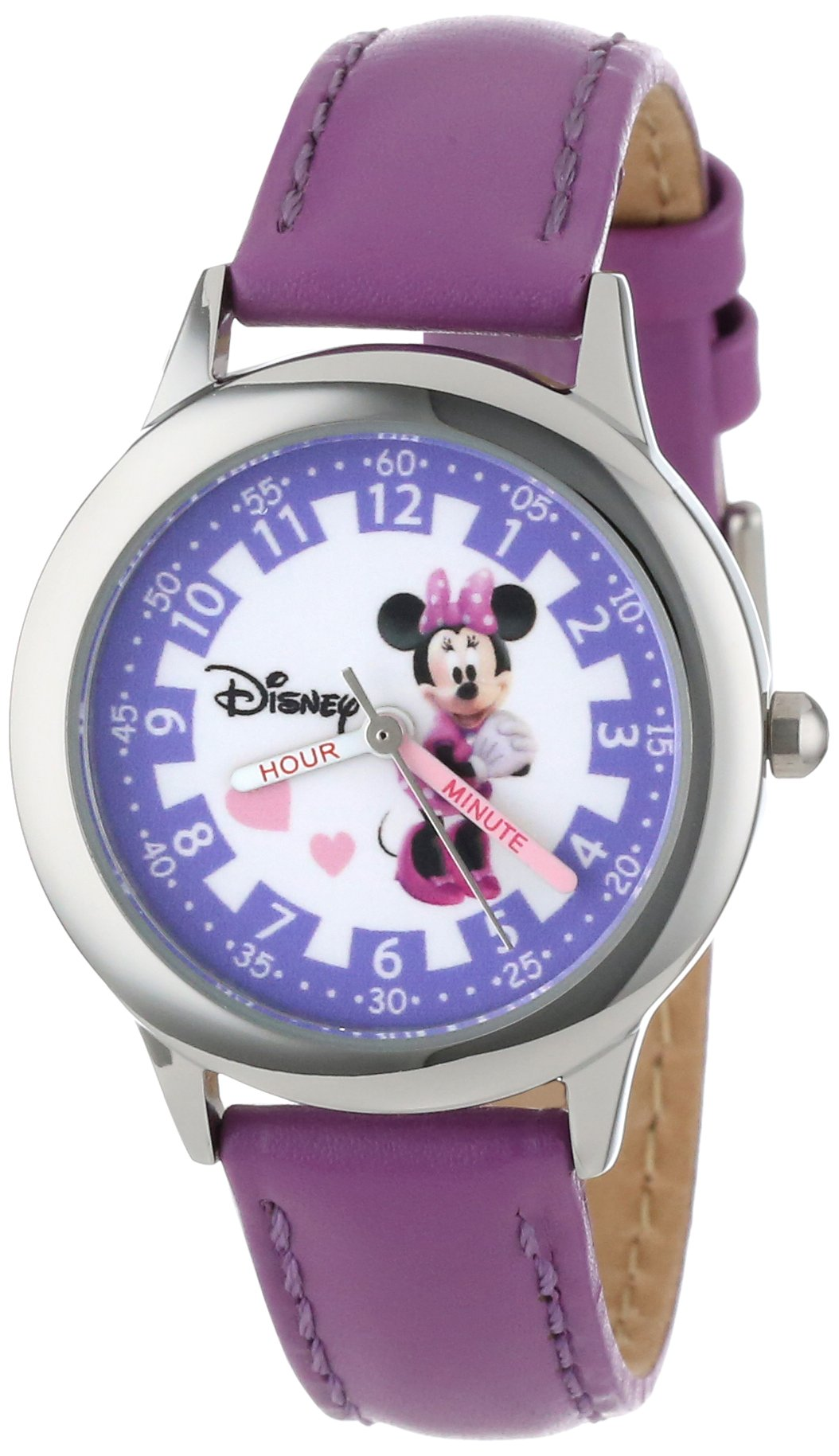 Disney Kids' W000039 Minnie Mouse Time Teacher Stainless Steel Watch with Purple Leather Band by Disney