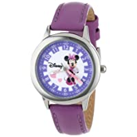 Kids' W000039 Minnie Mouse Time Teacher Stainless Steel Watch with Purple Leather Band