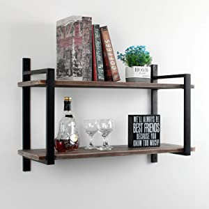 Weven Industrial Metal and Wood Wall Shelf Unit,36in Iron Real Reclaimed Wood Book Shelves,Hanging Wall Shelves for Bedrooms Office,2 Tier Bookshelf Shelving,Rustic Brown