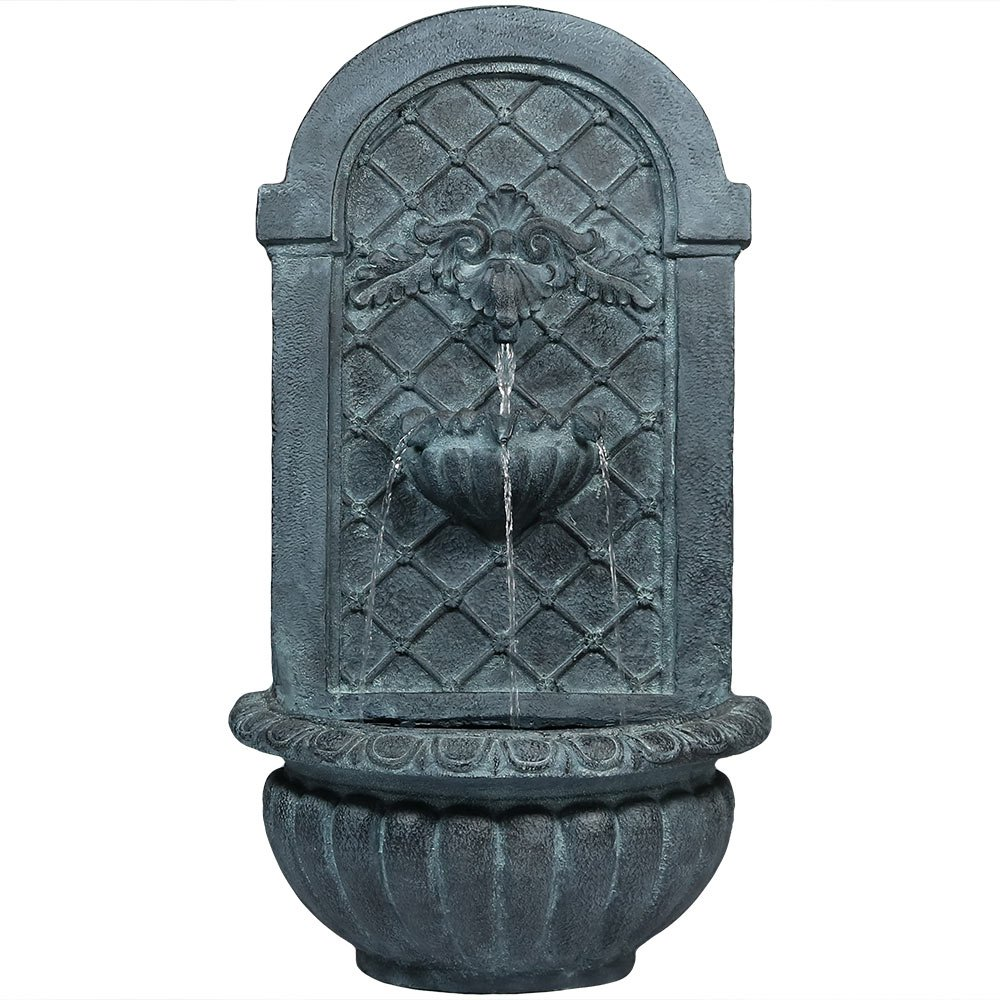 Sunnydaze Venetian Wall-Mounted Water Fountain, Outdoor Garden Waterfall Feature, Lead Finish, 27 Inch