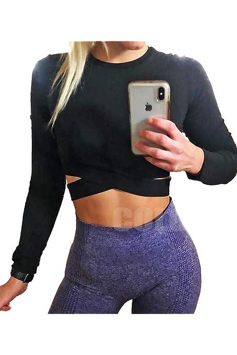 Amazon.com: henglong Black Sport Crop Top for Women with ...