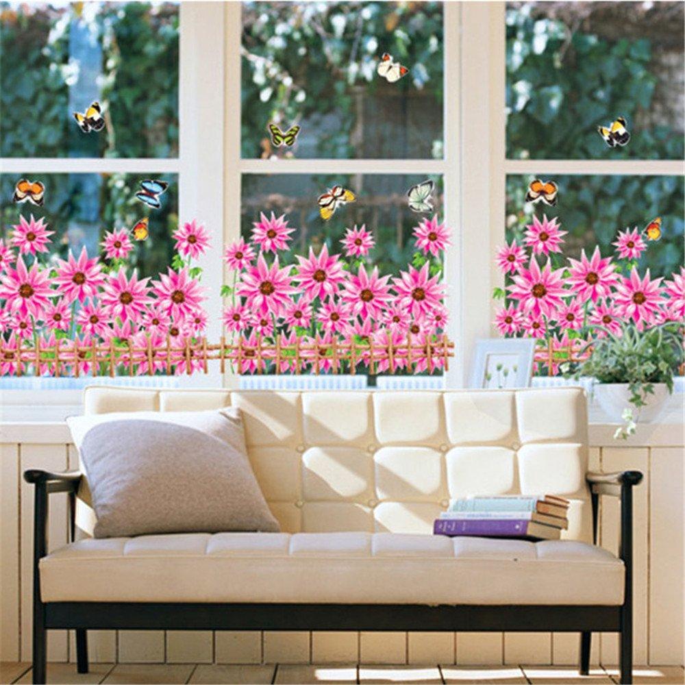 Amazon Com Gtnine Sunflowers And Butterflies Vinyl Wall