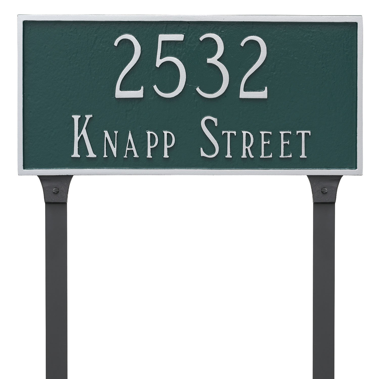Montague Metal 10'' x 21'' Classic Rectangle Two Line Address Sign Plaque with Lawn Stakes, Large, Black/Silver