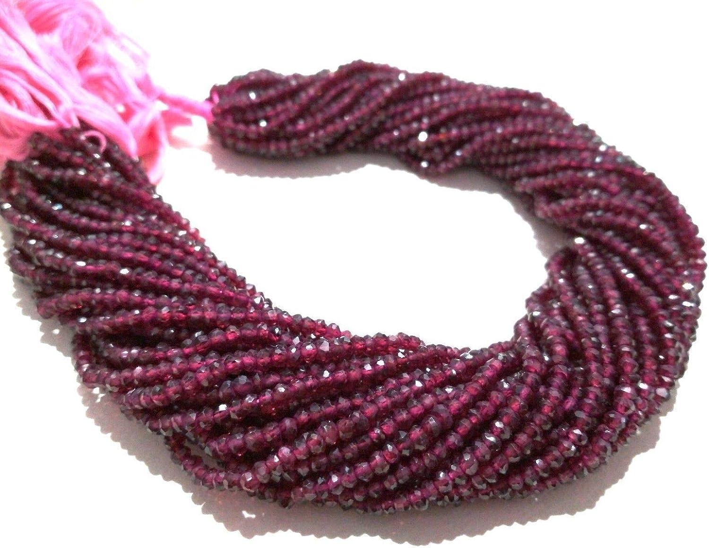 Mughal Gems & Jewellery - 1 Cuerda de Granate Natural con facetado de Perlas de Piedras Preciosas (3,5-4 mm)