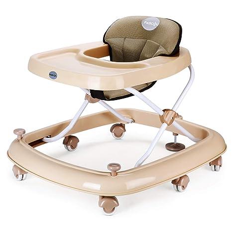 Fascol Andador Bebés Ajuste de Altura 45-46.5-48-49.5-51 cm Andador para Bebés Plegable con un Freno, Caqui