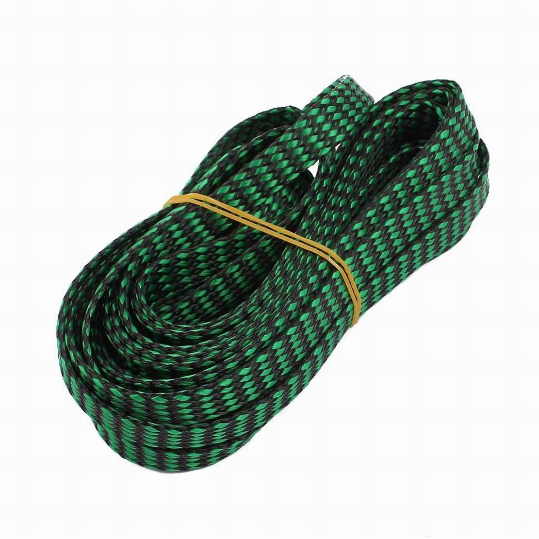 FemiaD 12mm PET Cable Wire Wrap Expandable Braided Sleeving Black Green 5M Length