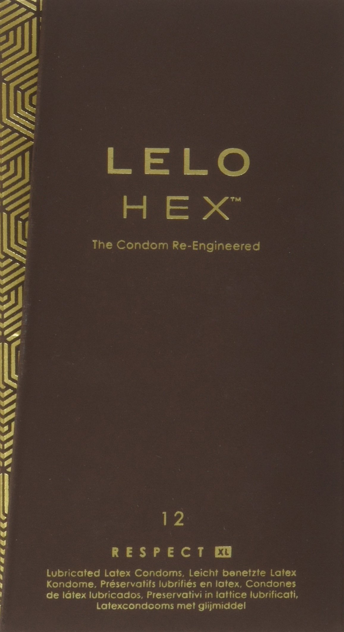 LELO HEX Respect, XL Size, Luxury Condoms with Unique Hexagonal Structure, Thin Yet Strong Latex Condom, Lubricated (12 pack)