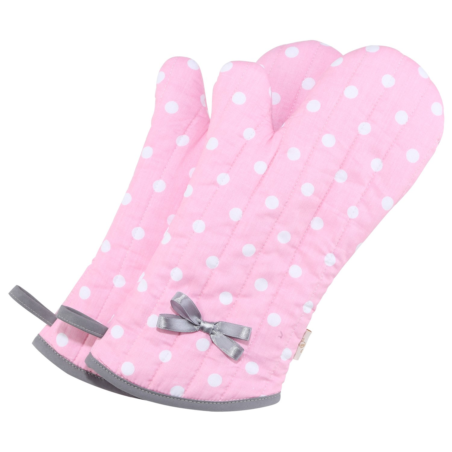 NEOVIVA Kitchen Oven Mitts for Adults, Heat Resistant Cotton Oven Gloves Set of 2, Polka Dots Pink
