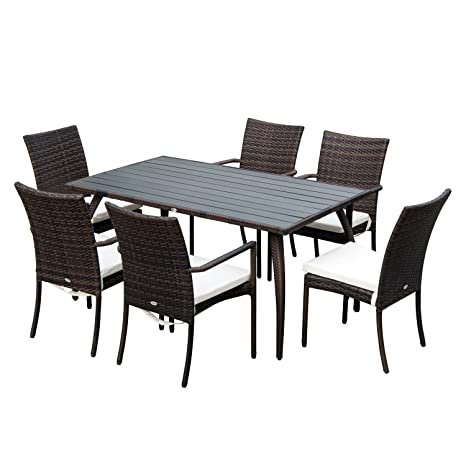 online store adbd0 bd42f Outsunny Outsuny 7PC Rattan Dining Set | 6 Wicker Weave Chairs & Plastic  Wood Top Dining Table | 6 Seater Outdoor Backyard Garden Furniture - Brown