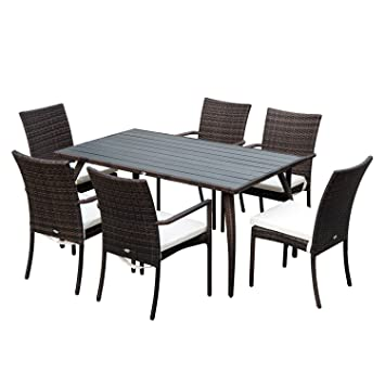 Outsunny 7PC Rattan Dining Set 6 Wicker Weave Chairs & 1 Plastic Wood Top  Dining Table Outdoor Backyard Garden Furniture - Brown