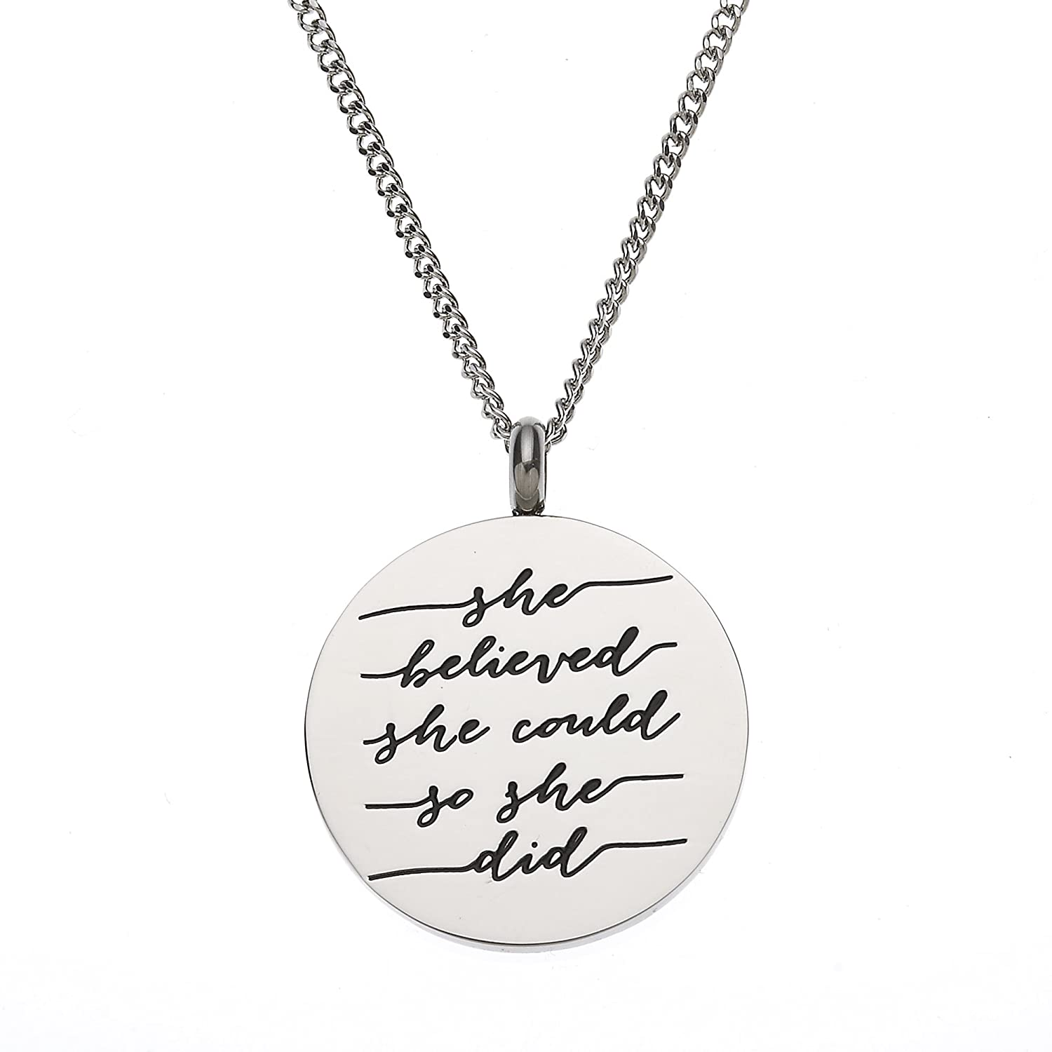 """""""She Believed She Could So She Did"""" Inspirational Pendant Necklace"""