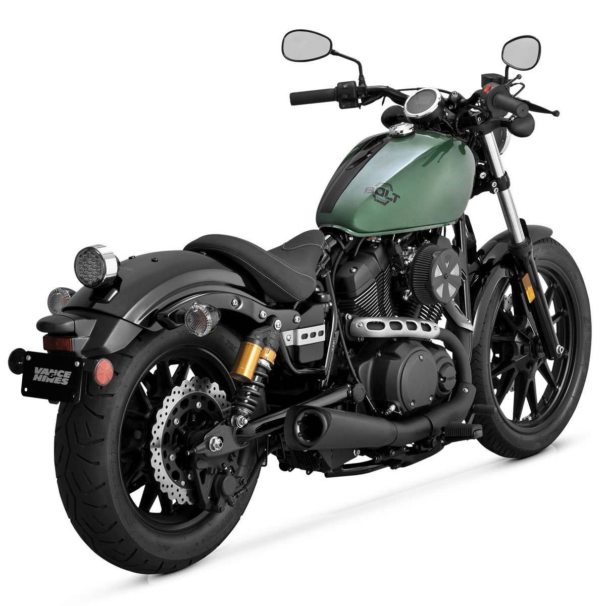 Vance & Hines Competition Series 2-Into-1 Matte Black Slip-On Exhaust for Yam - One Size