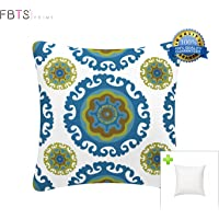 FBTS Prime Outdoor Decorative Pillows with Insert Blue and White Patio Accent Pillows Throw Covers 18x18 Inches Square Patio Cushions for Couch Bed Sofa Patio Furniture