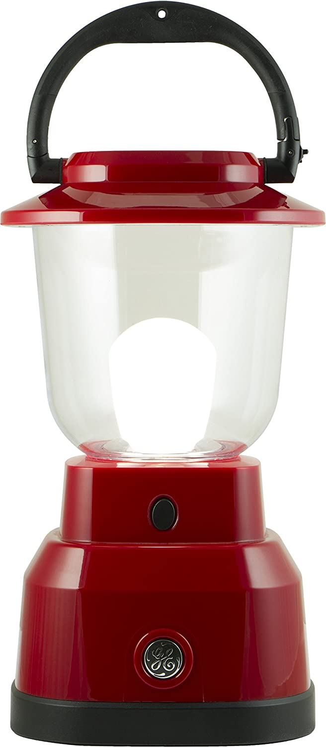 GE Enbrighten JAS29923 LED Lantern, Battery Operated, USB Charging, Red Finish, 800 Lumens, 200 Hour Runtime, 3 Light Levels, Ideal for Outdoors, Camping, Hurricane, Storm, Tornado & Emergency, 29923