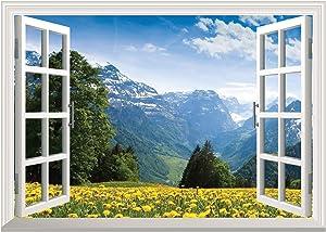 """Fabulous Décor - Breathtaking Relaxing Flowery Mountain Meadow Field 3D Window View Wall Art Premium Vinyl Decal Sticker 17""""H X 23.8""""W"""