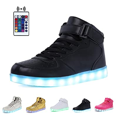 Women High/Low Top PU Leather LED Light Fashion Flashing USB Rechargeable Sneake
