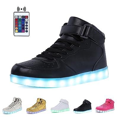 SanYes Women Men Unisex High Top USB Charging Light Up LED Shoes Flashing Sneakers  5538Z0JMO